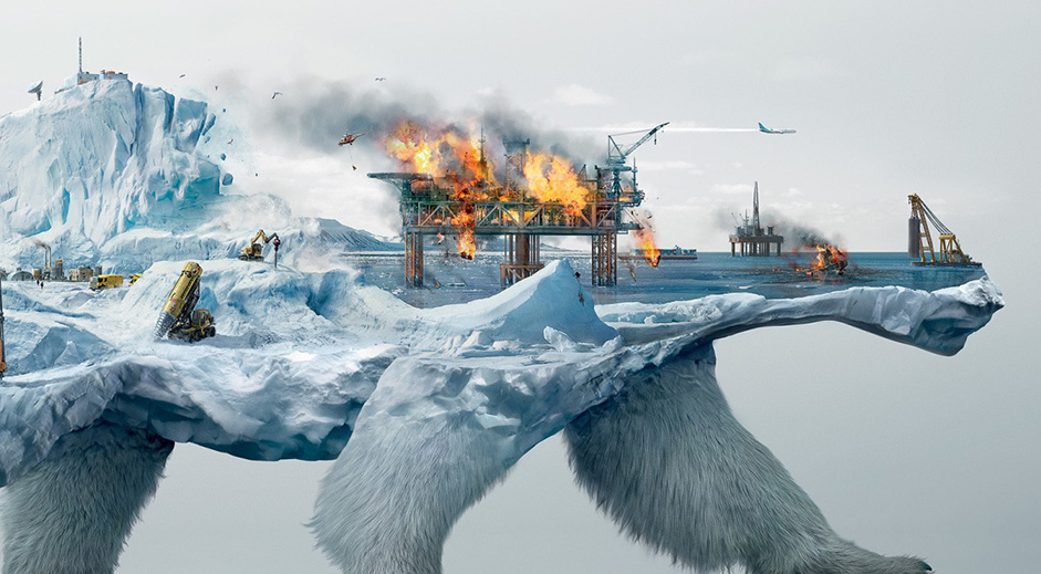 The destruction of wildlife illustrated in clever double exposure ads